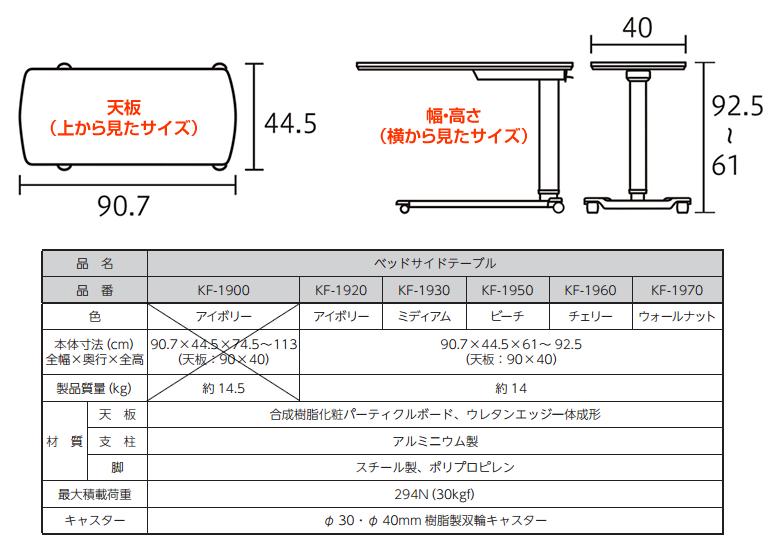 ベッドサイドテーブル 寸法・詳細仕様